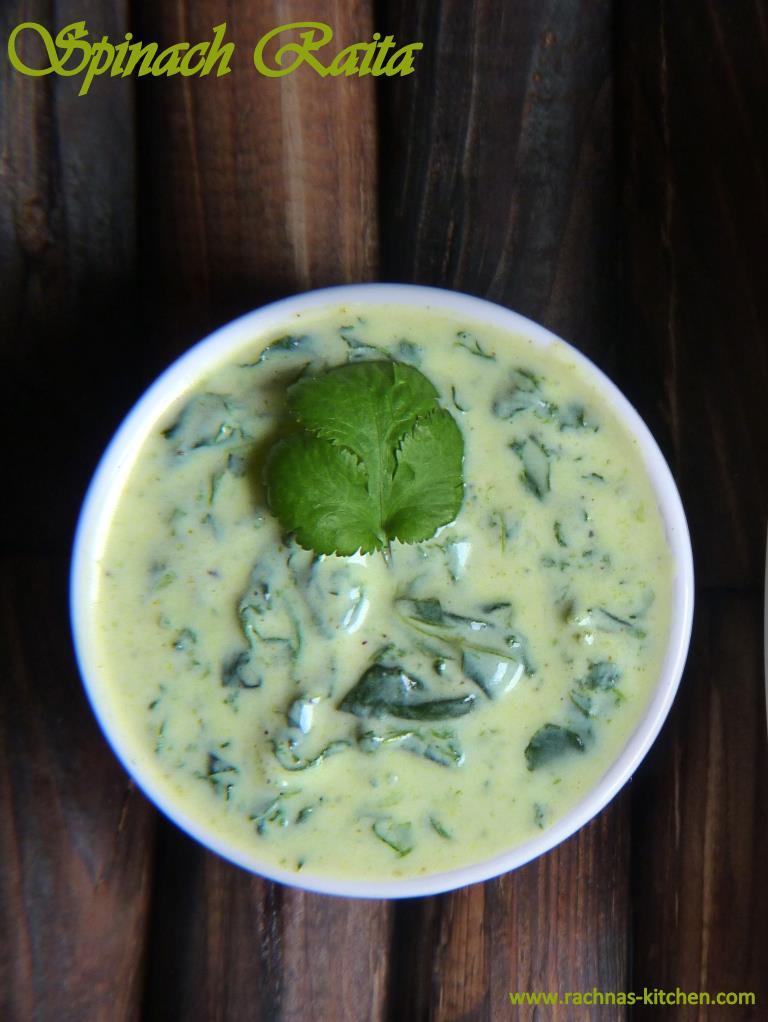 Spinach Raita Recipe   Spinach Dip - Rachna's Kitchen