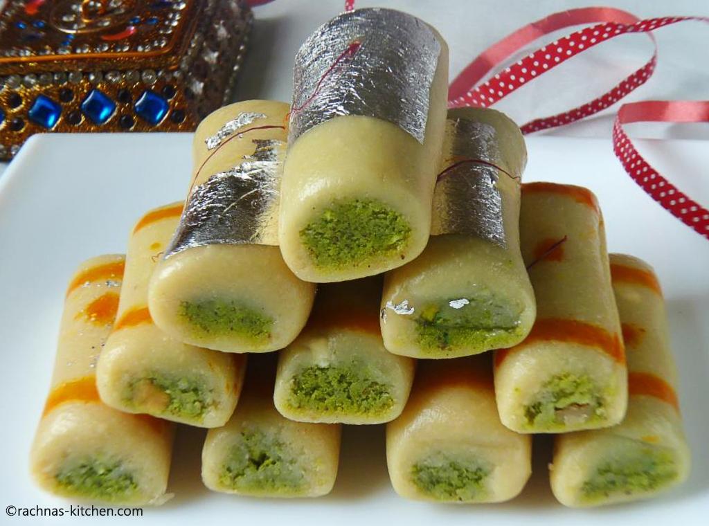 Kaju pista roll recipe how to make kaju pista roll forumfinder Images