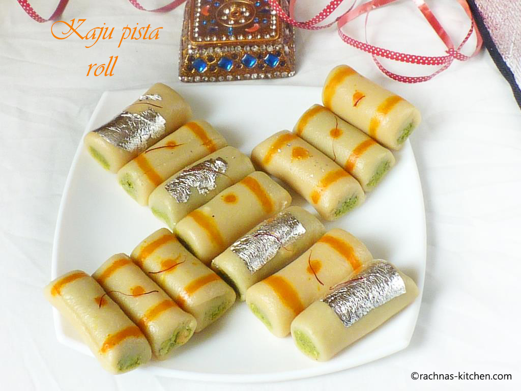 Kaju pista roll recipe, How to make kaju pista roll