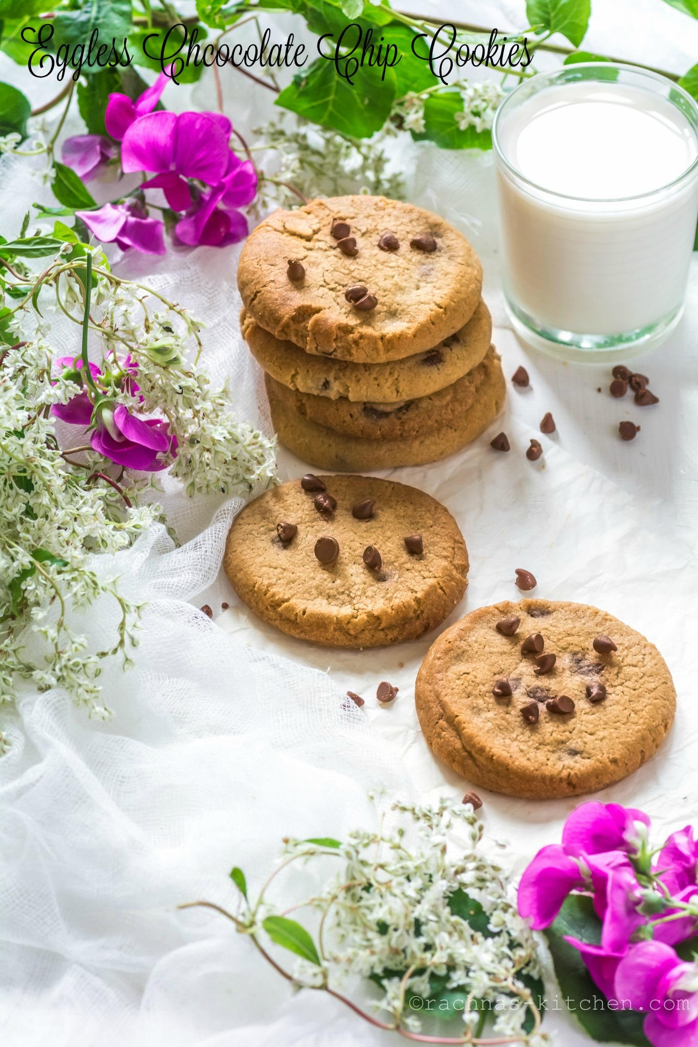 Eggless chocolate chip cookies | Eggless Cookies Recipe