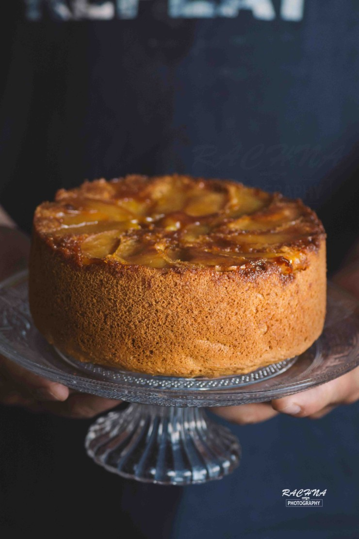 Apple Upside Down Cake Eggless