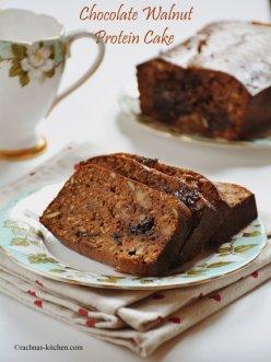 Chocolate walnut cake | Eggless Walnut Protein cake