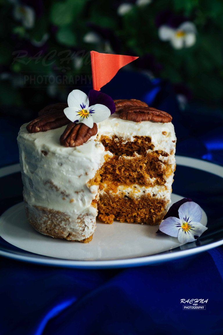 Eggless Carrot cake in microwave | Eggless carrot cake for two