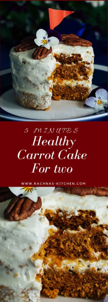 eggless carrot cake for two pin