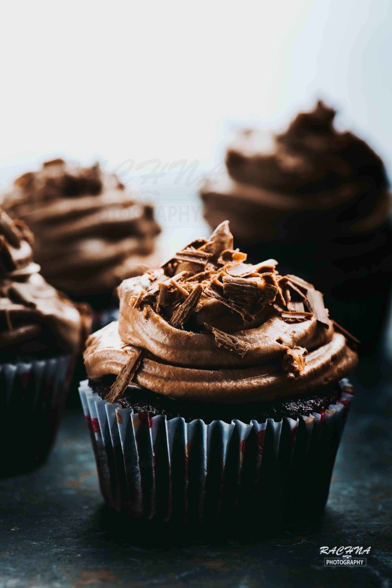 Eggless Chocolate Cupcakes with dark chocolate frosting