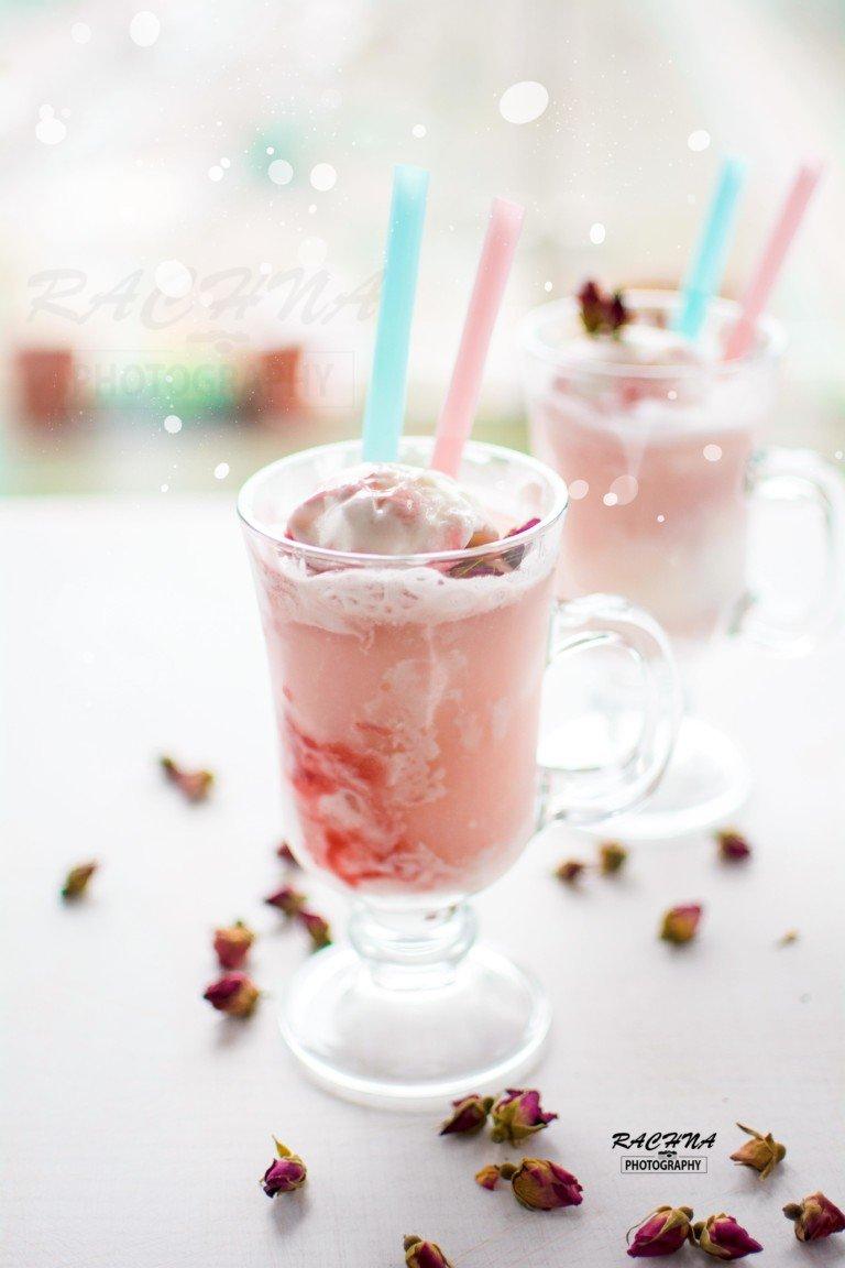 Rhubarb rose ice cream floats